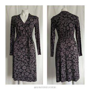 Boden ▪ Black & Gray Floral Jersey Wrap Dress